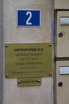 Plaque extérieure du Cabinet d'ostéopathie d'Herblay